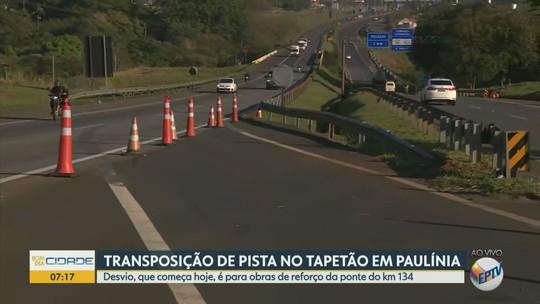 Rodovia SP-332 tem mudança de sentido no trânsito para realização de obras entre Paulínia e Cosmópolis