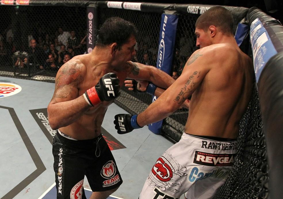 Rodrigo Minotauro nocauteou Brendan Schaub ainda no primeiro round — Foto: Getty Images