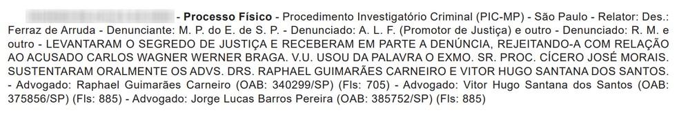 Acórdão recebeu a denúncia contra promotor de Justiça e advogadas de Presidente Prudente — Foto: Reprodução