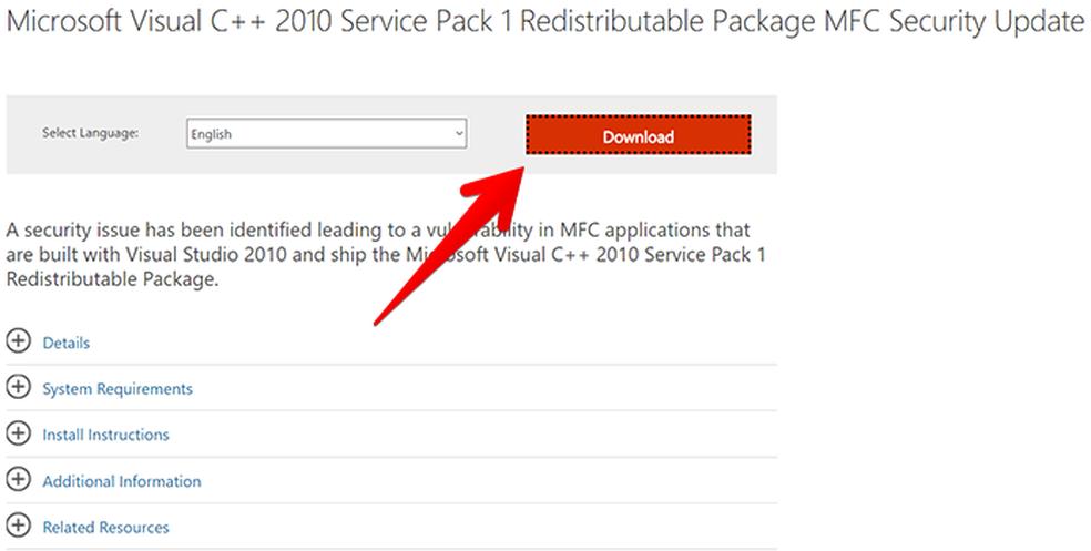 Acesse a página e baixe o Microsoft Visual C++ 2010 SP1 — Foto: Reprodução/Filipe Garrett