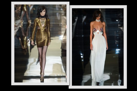 Tom Ford: o hedonismo da Disco influenciou os vestidos ultra sexy do estilista, com recortes, fendas e cristais que escondiam o minímo