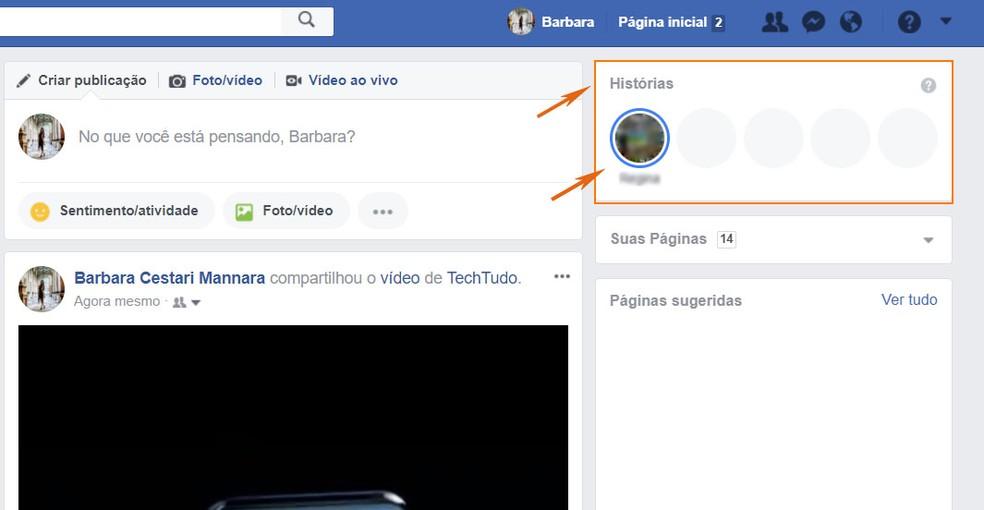 Encontre o Facebook Stories pelo navegador no PC (Foto: Barbara Mannara/TechTudo)