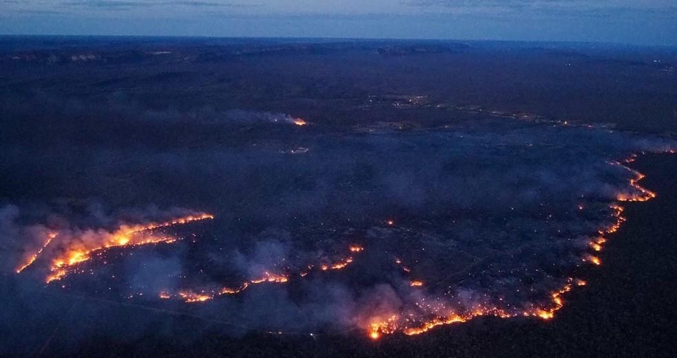 Incêndio ameaça Parque Nacional da Serra da Capivara — Foto: Arquivo pessoal/Joaquim Neto