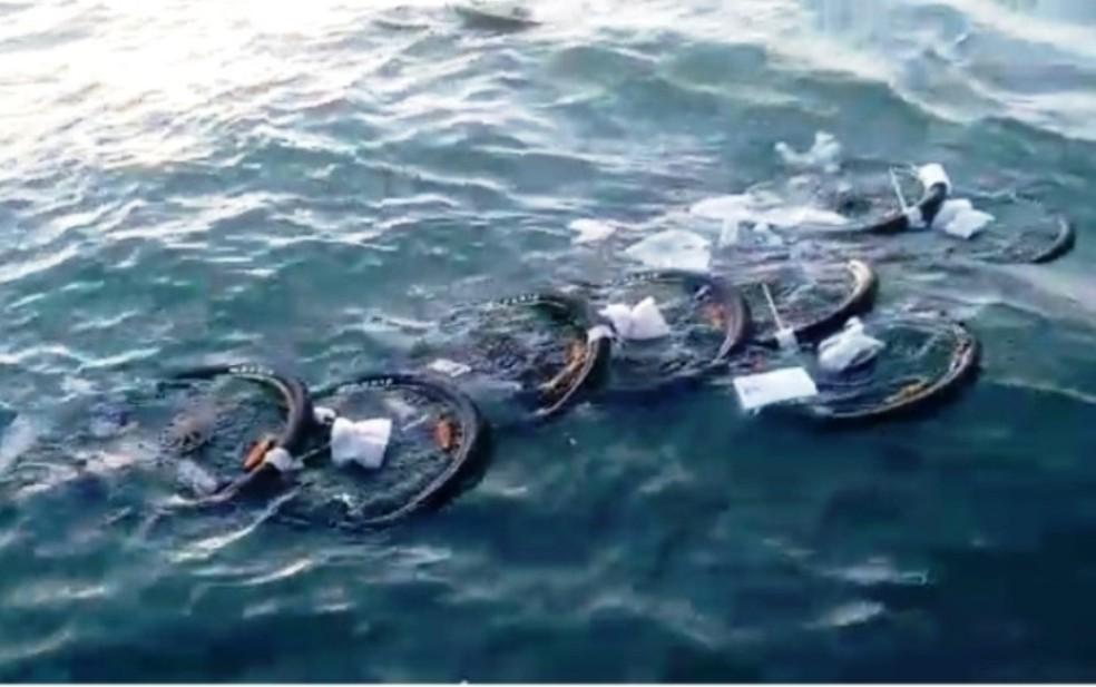 Pneus caíram no mar depois do acidente (Foto: Walmir Oliveira)