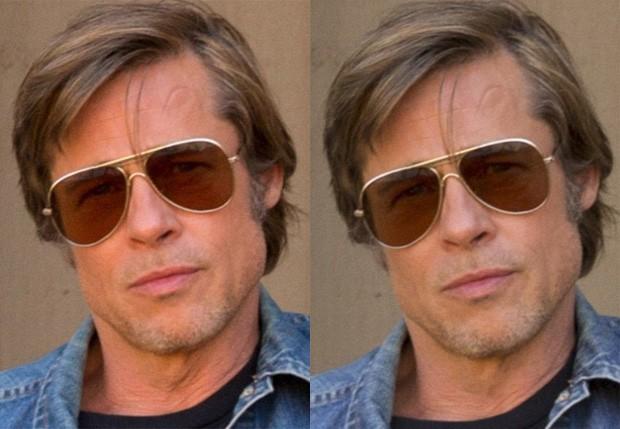 Brad Pitt com e sem Photoshop (Foto: Divulgação/Sony)