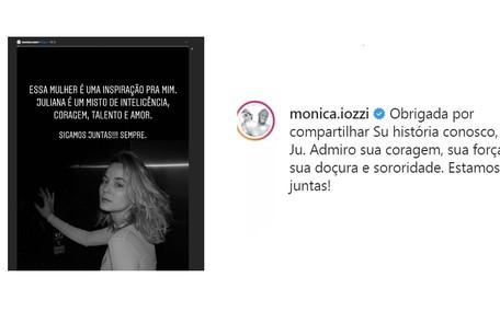 Moniza Iozzi homenageou a coragem da amiga Reprodução