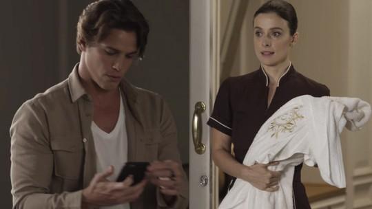 Teaser: Lourenço não reconhece Cíntia com uniforme de camareira e ela fica chateada