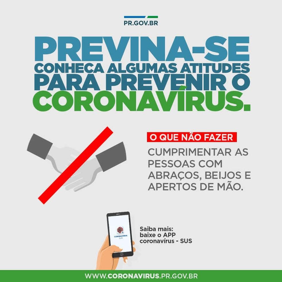 Governo do Paraná lançou, nesta segunda-feira (16), portal com informações sobre o novo coronavírus — Foto: Reprodução/Governo do Paraná