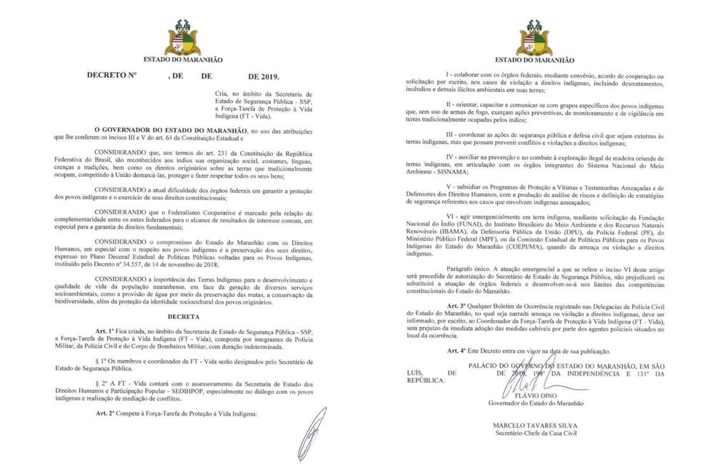 Decreto 'Força-Tarefa de Proteção à Vida Indígena (FT-Vida)' foi editado nesta segunda-feira (4) pelo governador do Maranhão, Flávio Dino. — Foto: Reprodução/G1 MA