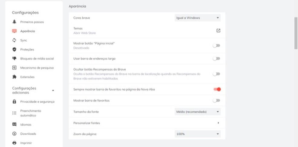 Tela para configuração de aparência do navegador Brave — Foto: Reprodução/Marvin Costa