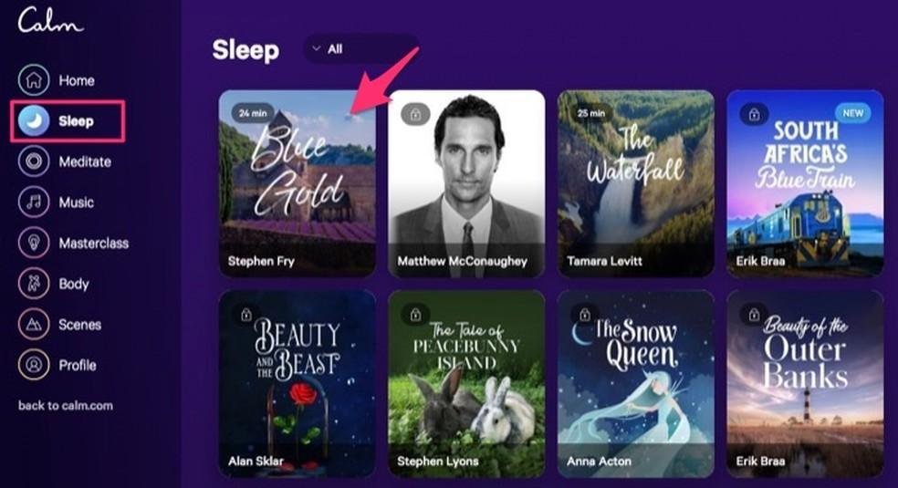 Ação para reproduzir um áudio que pode ajudar com o sono no serviço online Calm ? Foto: Reprodução/Marvin Costa