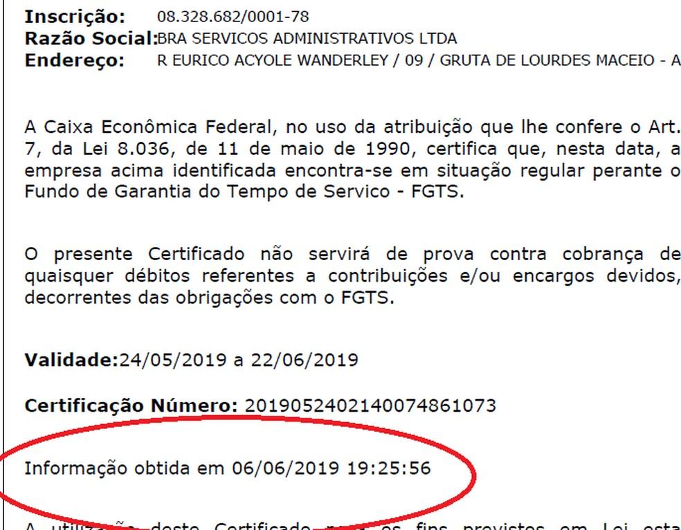 Certidão emitida após o fim do prazo em licitação do GDF — Foto: Reprodução