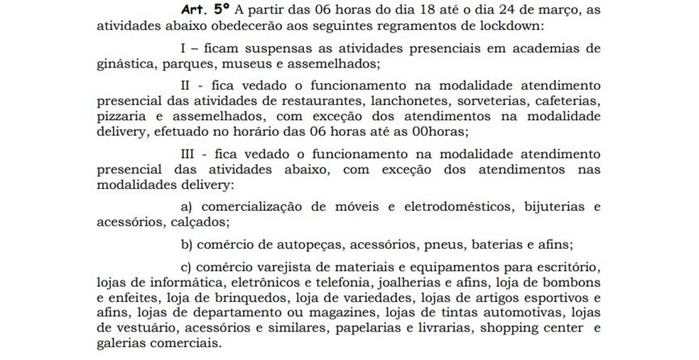 Decreto do governo do Amapá suspendendo atividades de academias — Foto: Reprodução