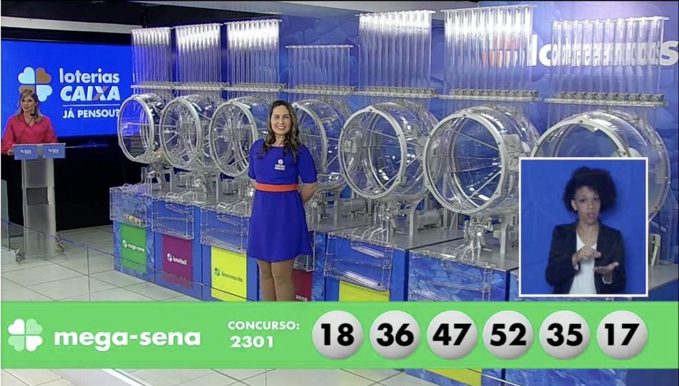 Números sorteados no concurso 2301 da Mega-Sena — Foto: Reprodução