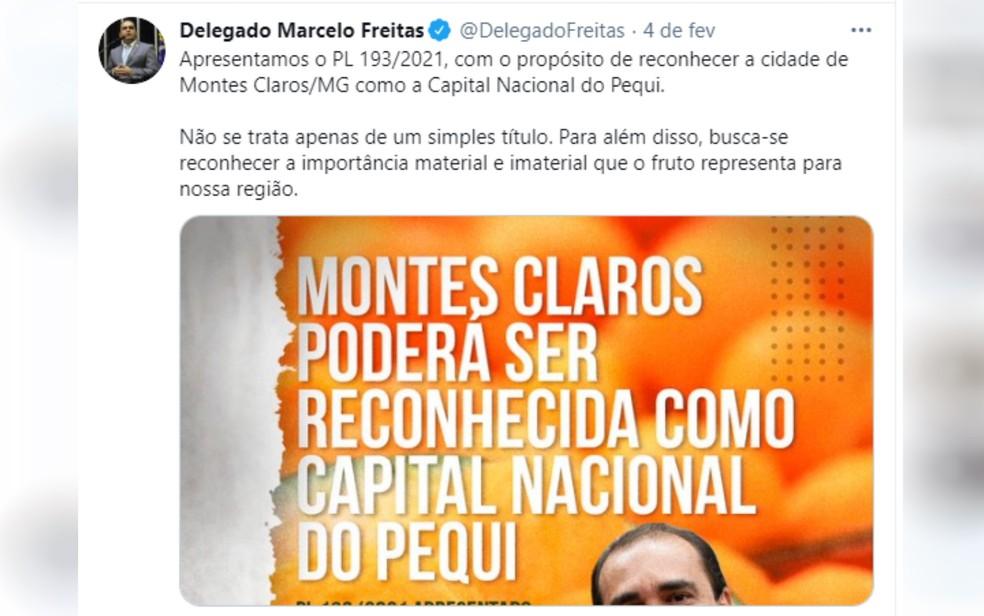 Deputado Marcelo Freitas posta em rede social projeto apresentado na Câmara — Foto: Reprodução/Twitter