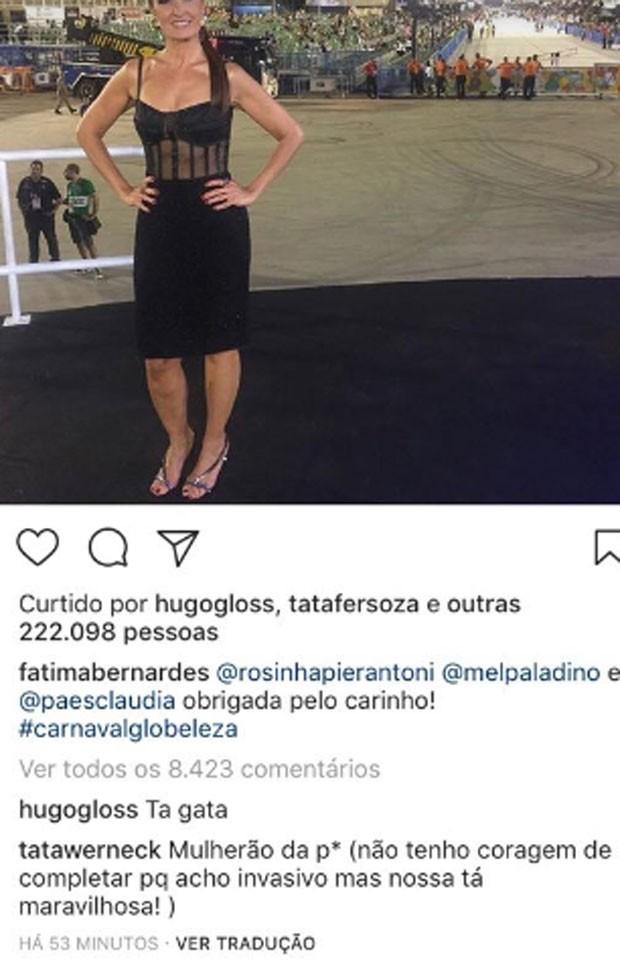 Tatá Werneck elogia Fátima Bernardes  (Foto: Reprodução)