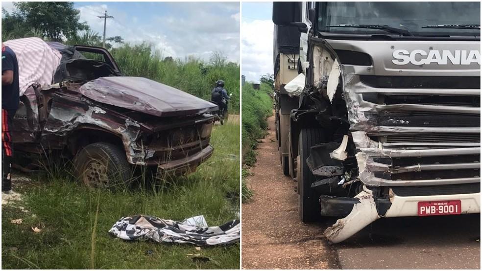 Colisão entre caminhonete e carreta causou a morte de passageira na BR-010, no Maranhão — Foto: Divulgação/PRF