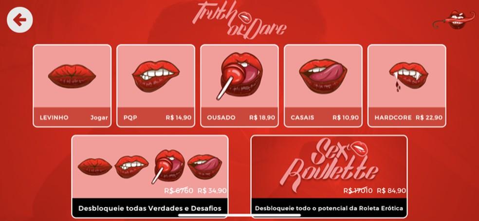 Ação para definir a intesidade do game Verdade ou Desafio no aplicativo Sex Roleta — Foto: Reprodução/Marvin Costa
