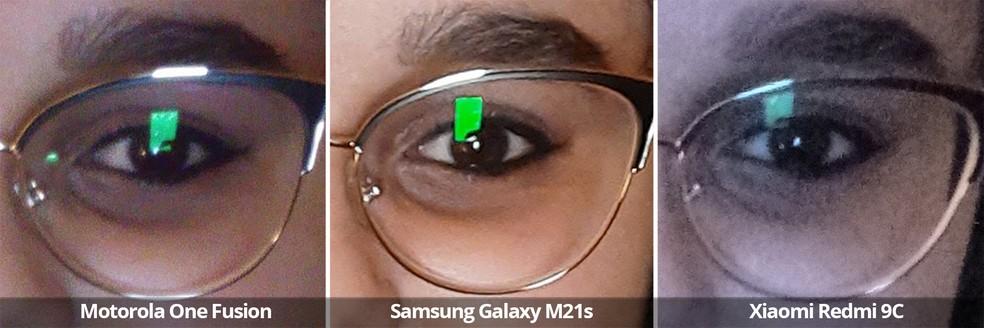 Comparativo das câmeras frontais do Motorola One Fusion, Samsung Galaxy M21s e Xiaomi Redmi 9C usando o flash frontal em detalhe. — Foto: Arquivo pessoal