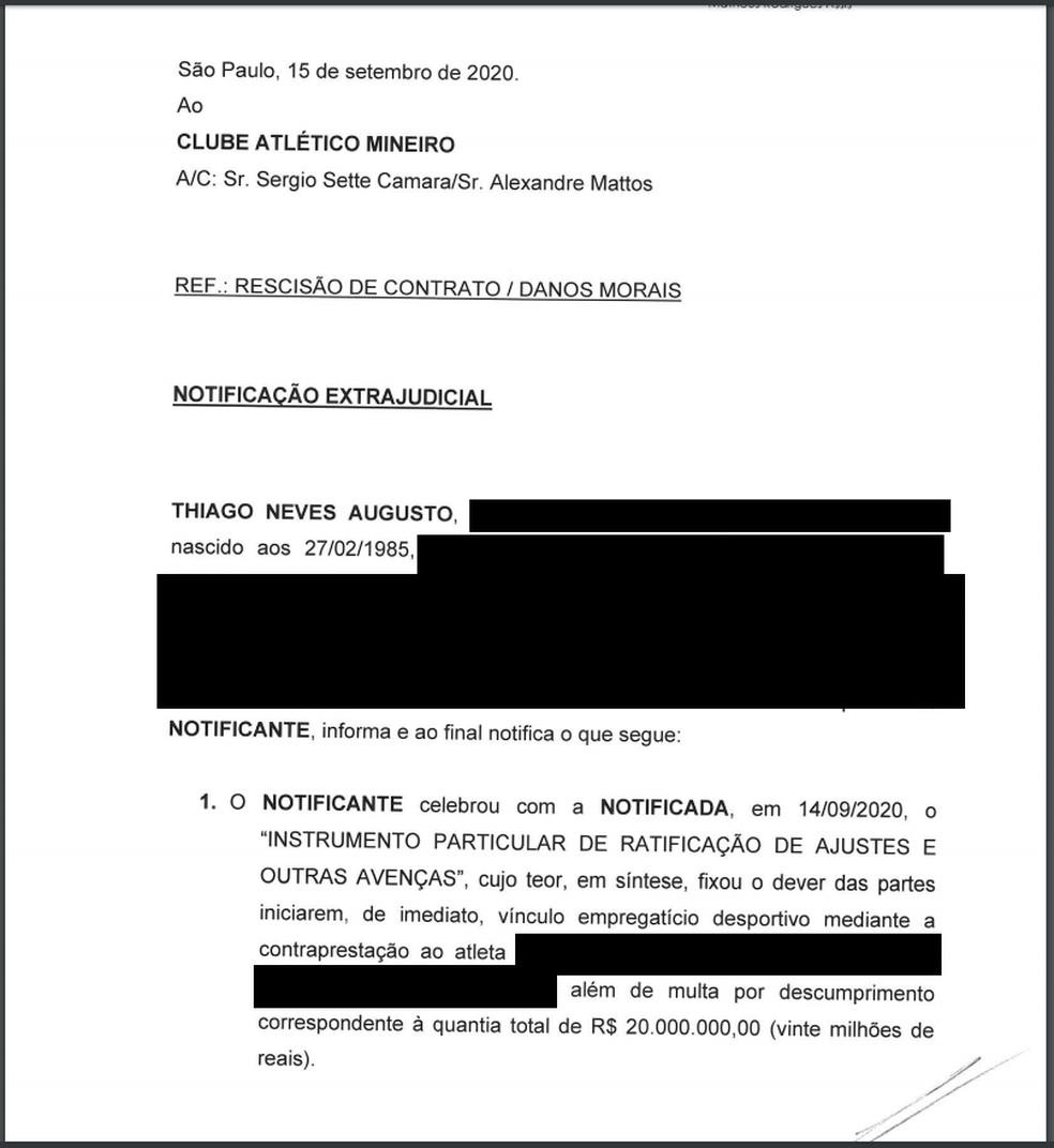 Notificação Thiago Neves ao Atlético-MG (Parte 1) — Foto: Reprodução