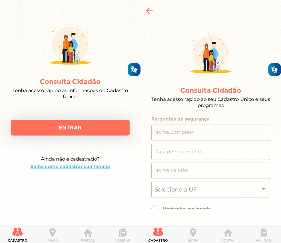 Pelo app CadÚnico inscritos podem consultar dados cadastrais  — Foto: Reprodução/TechTudo