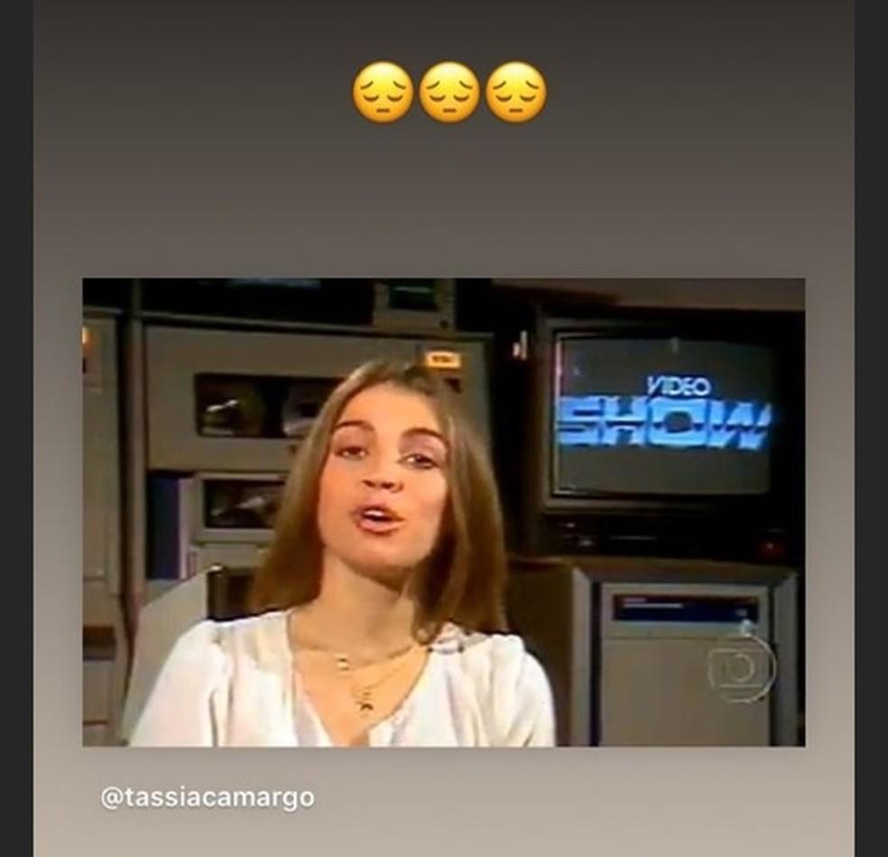 """Tassia Camargo lamenta fim do """"Video Show"""" — Foto: Reprodução/Instagram"""