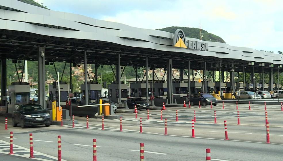 Pedágio na Linha Amarela, Zona Norte do Rio — Foto: Reprodução/TV Globo