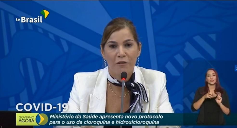 Mayra Pinheiro, Secretária de Gestão do Trabalho e da Educação na Saúde, citou Sociedade Brasileira de Cardiologia como 'parceira' do Ministério da Saúde na orientação para uso da cloroquina contra covid-19 — Foto: Reprodução/TV Brasil