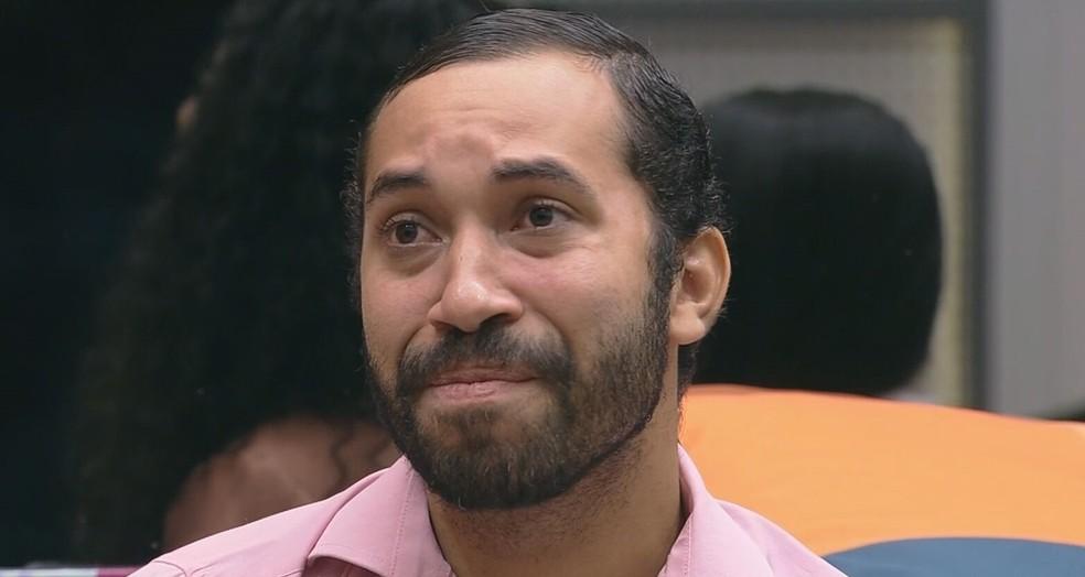 Gilberto no paredão do 'BBB 21' deste domingo (2) — Foto: Reprodução/TV Globo