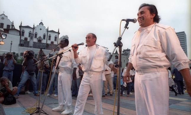 Os Trapalhões em apresentação no Rio de Janeiro, um ano após a morte de Zacarias, em 28 de Novembro de 1991