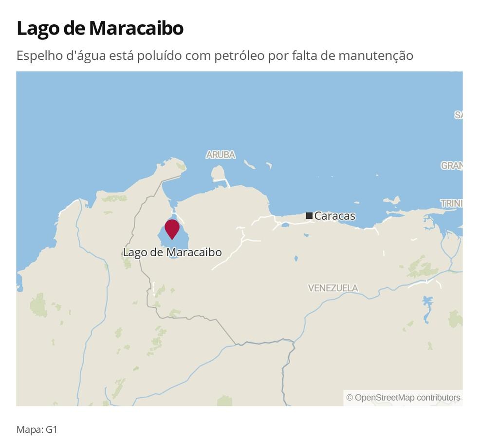 Mapa: Lago de Maracaibo, na Venezuela — Foto: Mundo/G1
