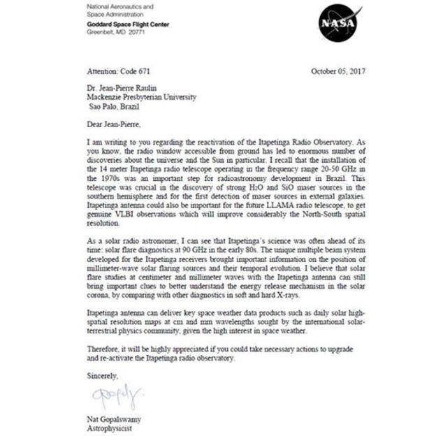 Mensagem enviada por cientista da Nasa para parabenizar e dizer o quão relevante é a reativação do rádio-observatório (Foto: REPRODUÇÃO/BBC)