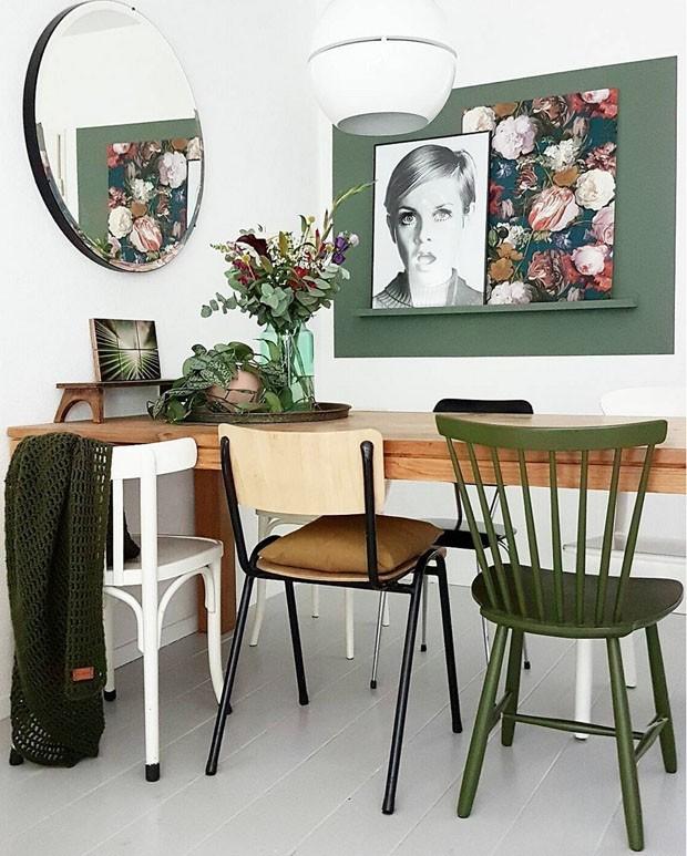 Décor do dia: sala de jantar neutra com toque de verde (Foto: Marian)