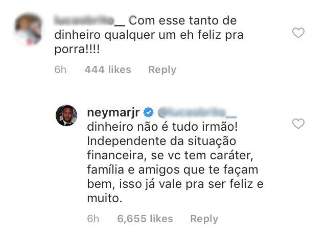 Neymar responde seguidor  (Foto: Reprodução / Instagram)