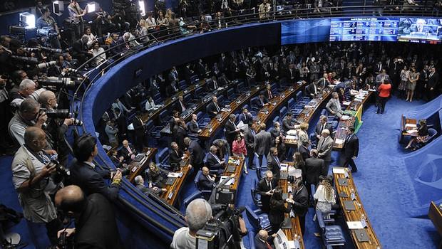 Plenário do Senado lotado antes da votação do processo de impeachment de Dilma (Foto: Pedro França/Agência Senado)