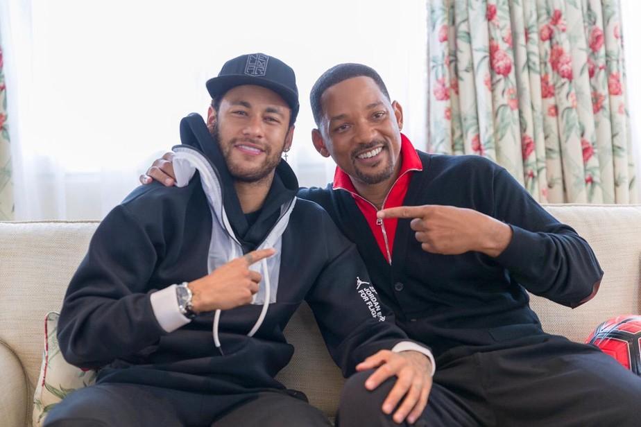 Em papo com Neymar, Will Smith elogia estilo em comemorações de gol: