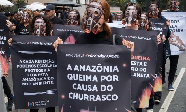 Protesto contra o desmatamento da Amazônia, em São Paulo, no ano passado