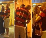 Thiago Martins beija muito Talita Nogueira em bar, no Rio