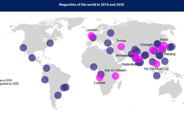 Marcadas em rosa, as 10 cidades que se tornarão megalópoles nos próximos anos, segundo a ONU (Foto: reprodução/ONU)