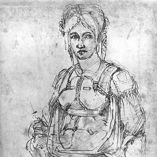 Esboço de retrato de Vittoria Colonna, feito por Michelangelo. (Foto: Wikimedia Commons)
