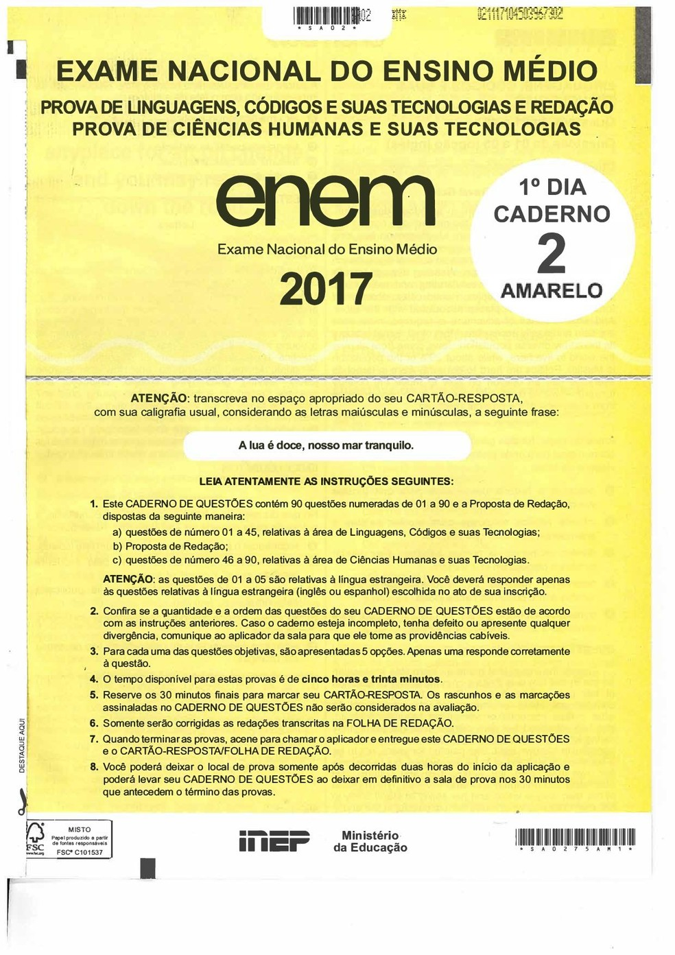 Enem 2017 caderno de provas amarelo do primeiro dia (Foto: Reprodução)