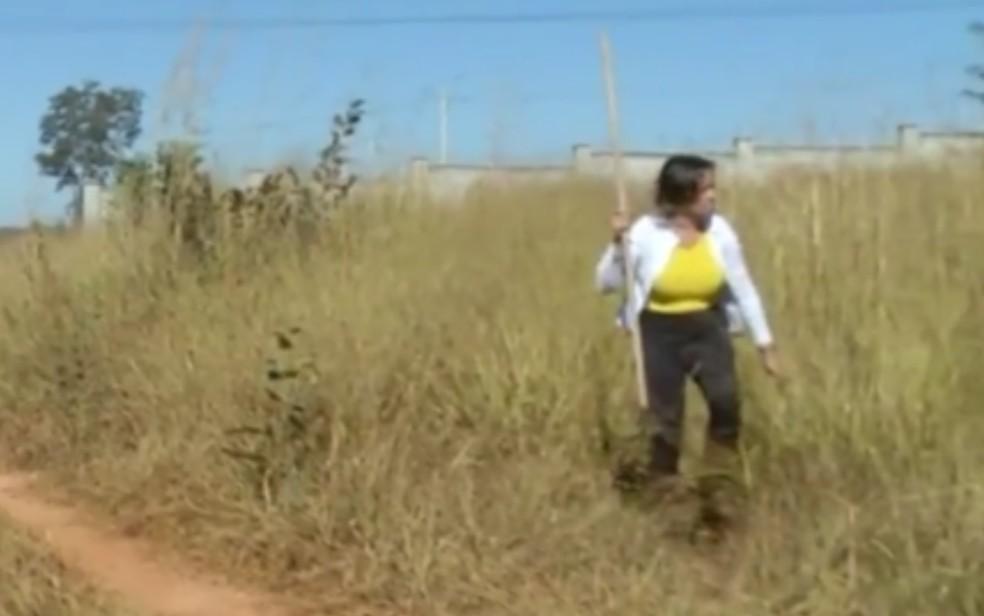 Jussara Ferreira procura corpo da filha, Thayná, em mata de Valparaíso de Goiás — Foto: Reprodução/TV Anhanguera