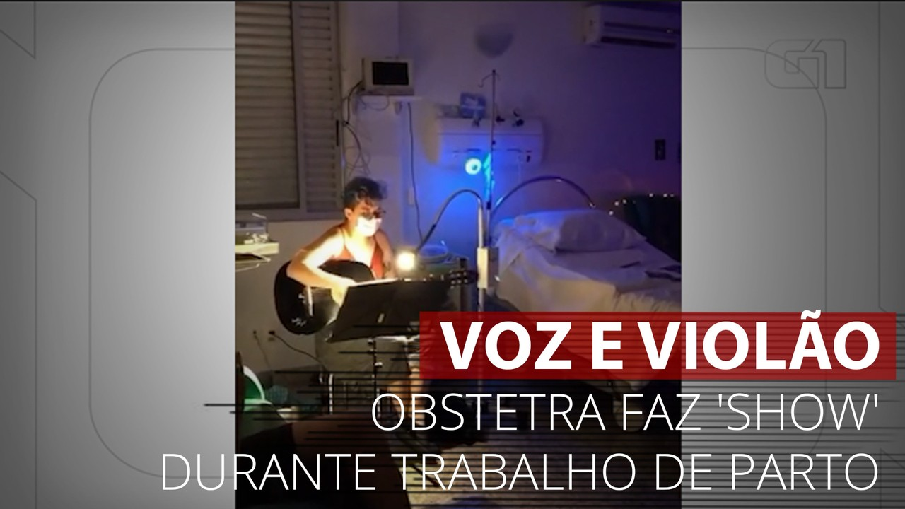 VÍDEO: Obstetra faz 'show' voz e violão durante trabalho de parto em maternidade de BH