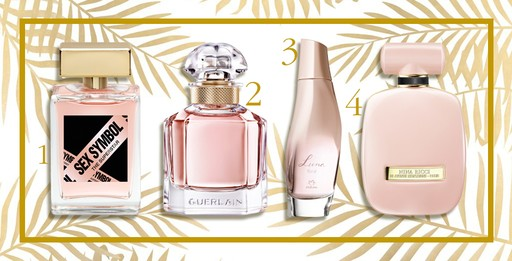 1. Sex Symbol The Surperstar, R$ 59,9 (100ml)/ 2. Mon Guerlain, R$ 199 (30ml)/ 3. Luna Floral, Natura, R$ 129,90/ 4. Rose Extase, Nina Ricci, R$ 249 (30ml)