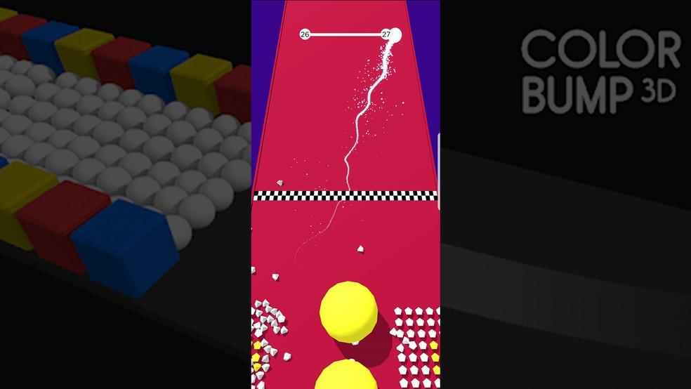 Passe pela linha final para terminar a fase do Color Bump 3D — Foto: Reprodução/Murilo Molina
