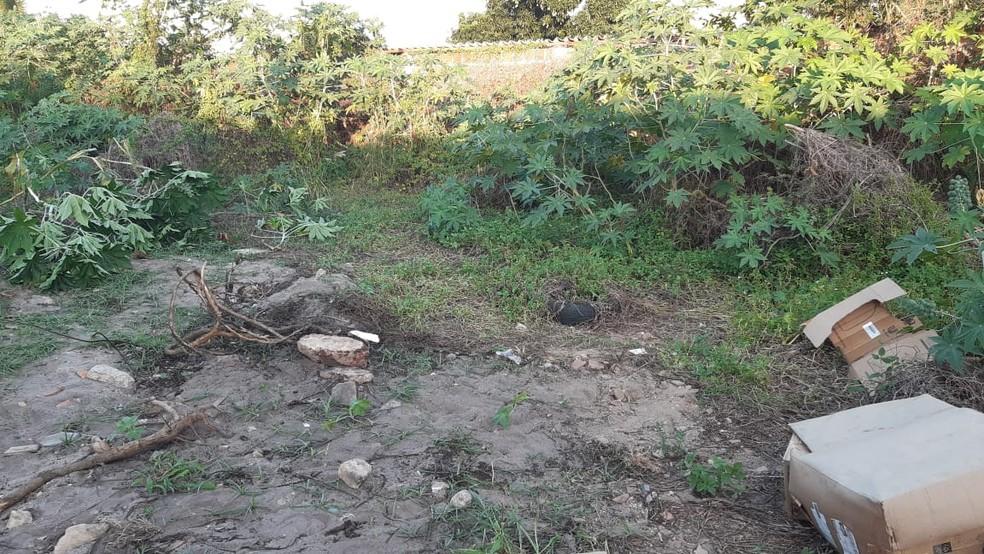Terreno onde o jovem foi morto: pedras no local ainda estavam sujas de sangue — Foto: Sérgio Henrique Santos/Inter TV Cabugi