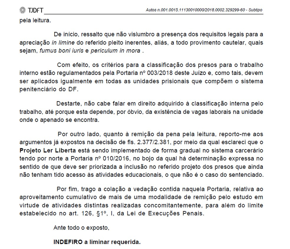 Trecho da decisão que nega vaga imediata para trabalho interno a Luiz Estevão — Foto: Reprodução