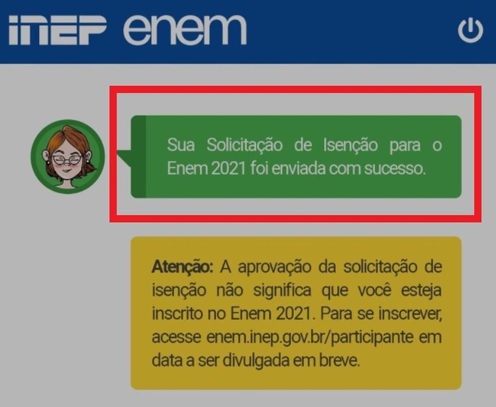 Leandro tirou 'print' de seu pedido de isenção... — Foto: Reprodução