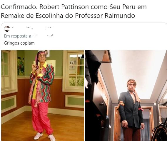 Meme nas redes sobre o ensaio de Robert Pattinson  (Foto: Reprodução/ Twitter)