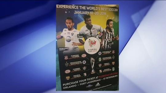 Cartaz do Torneio da Flórida tinha Jô, Fred e Scarpa e foi atualizado